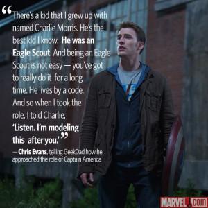 Chris Evans Captain America Eagle Scout Quote