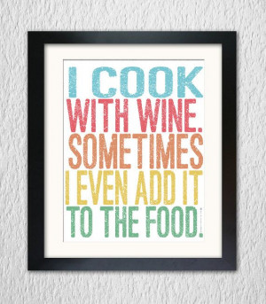cook+with+wine++Wall+art++Inspirational+quote+by+DotsNoMore,+$7.00
