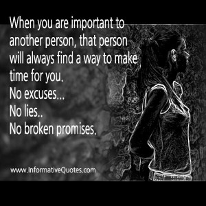 No excuses, lies or broken promises