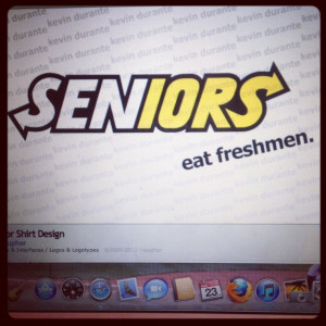 Senior year! This would be ideal, especially if the theme was