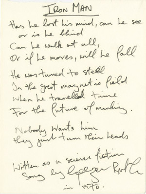 "Geezer Butler of Black Sabbath handwritten signed lyrics to ""Iron ..."