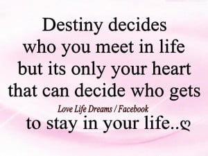 Destiny decides who you meet in life..