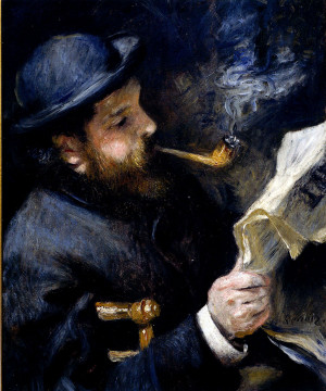 Pierre Auguste Renoir (1841-1919) Claude Monet Reading A Newspaper Oil ...