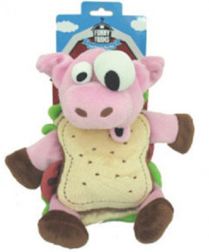 Funny Farms Pig Sandwich Share Pet Crinkle Plush