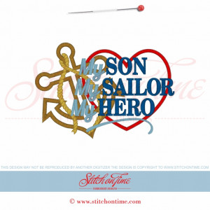 5625 Sayings : My Son My Sailor My Hero Applique 5x7