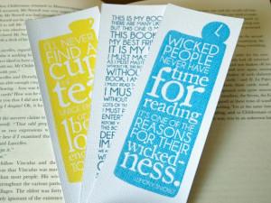 Bookmarks Typographic Quotes Reading, Authors and Film. £4.00, via ...