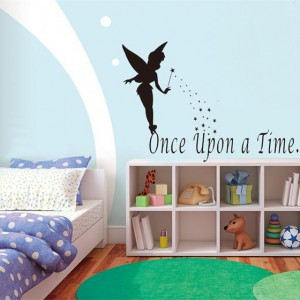 Flying fairy tale once upon a time quote wall stickers home decor cute ...