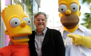 Matt Groening, creator of The Simpsons with Bart and Homer Simpson ...