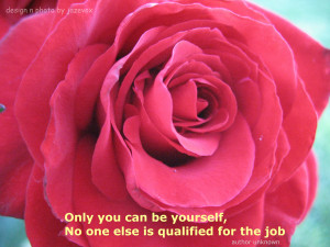Beautiful Red Rose With Be Yourself Quote