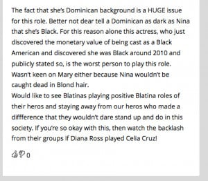 ... --she's a Latina. She's stealing jobs from real black actresses
