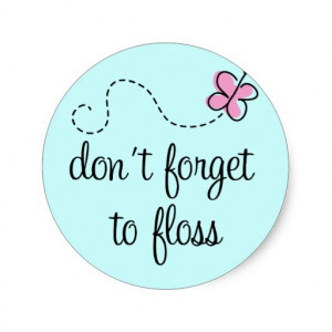 Dental Floss and Tooth Design Round Stickers