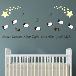 Sweet Dreams Counting Sheep Wall Sticker Quote