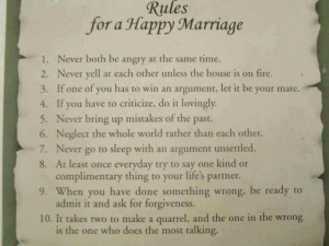 Rules For A Happy Marriage…