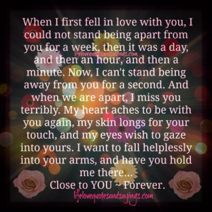 ... love with you i could not stand being apart from you for a week then