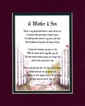 Mother & Son Touching 8x10 Poem, Double-matted in Burgundy Over Dark ...
