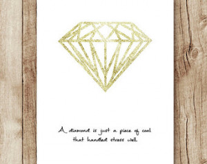 diamond quote wall art gold, motiva tional quotes instant download ...