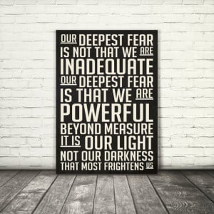 Our deepest fear, Marianne Williamson quote, 8x10, A3, digital ...