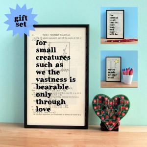 Carl Sagan Inspirational Quote Gift Set Framed Artwork on upcycled ...