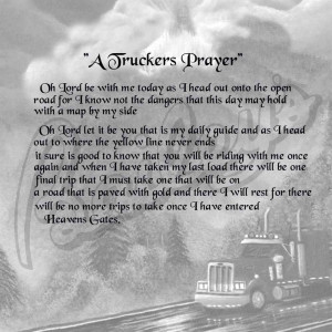TRUCKER PRAYER POEM BW 8 1/2X11