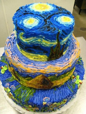 Wow. Van Gogh starry night sky inspired cake