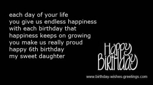 sixth birthday greetings for daughter