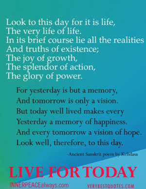 live for today quote poem-bEST qUOTES