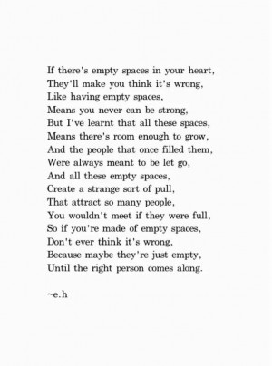 Empty spaces in your heart...