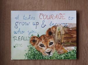 Motivational quote - lion cub original watercolor card