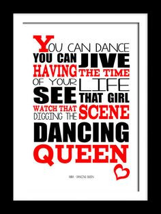 Abba Dancing queen . A4 picture mount & Print Typography song music ...
