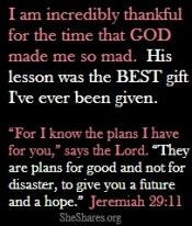 Thank you God for carrying me through those rough times! More