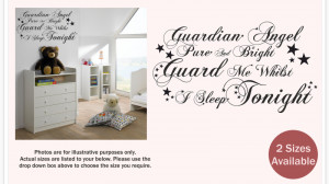 ... ANGEL PURE AND BRIGHT   Nursery wall sticker quote   Kids baby   WQ22