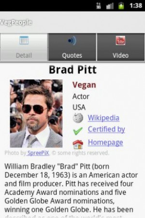 Aumentar - Captura de pantalla de VegPeople Vegetarianos famosos para ...