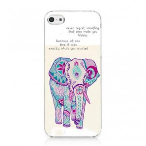 CRHK® Cute Rainbow Elephant Never Regret Quote Pattern Clear Back ...