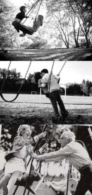couple growing old together, swing