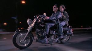 Arnold Schwarzenegger (The Terminator) and Edward Furlong (John Connor ...