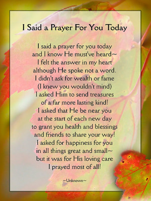 vigor › Portfolio › I Said a Prayer For You Today - Inspirational