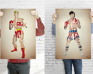 ... typography art print posters based on quotes from the movie Rocky IV