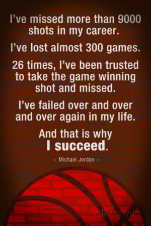 Michael Jordan - Succeed Quote Motivational Plastic Sign Wall sign