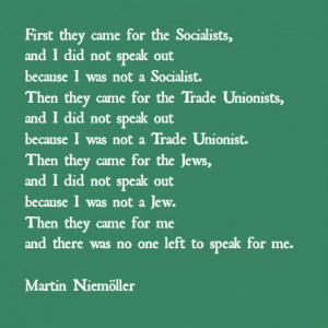 Tag Archives: Martin Niemoller quote