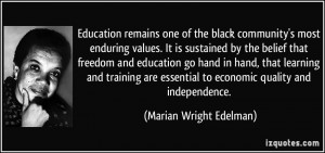 Education remains one of the black community's most enduring values ...