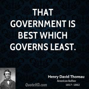 Henry David Thoreau Government Quotes