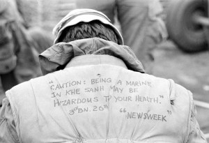 Marine pictured with prophetic inscription on flak jacket. HM3 ...
