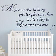 Baby Wall Sticker Quote - Boy to Love & Treasure Child Nursery Bedroom ...