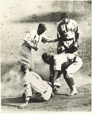 Earle Combs comes home against Chicago in the 1932 World Series