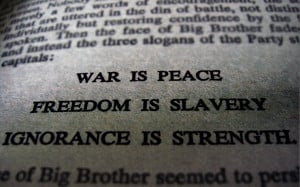 George Orwell Quote on War and Freedom HD Desktop Wallpaper