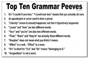 Top 10 Grammar Pet Peeves [Pic]