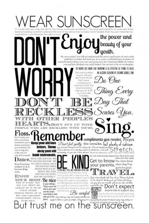 wear sunscreen quote print poster black and white or color home decor ...
