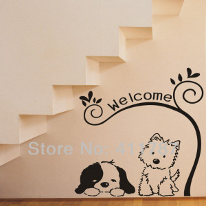 Lovely Dogs Welcome Quote Removeable Wall Stickers Home Decor Free ...