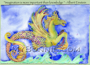 SEAHORSE Painting Albert Einstein Quote 15x11 Signed Art by Bonnie ...