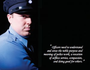 Officer in Partial Shadow with Quote
